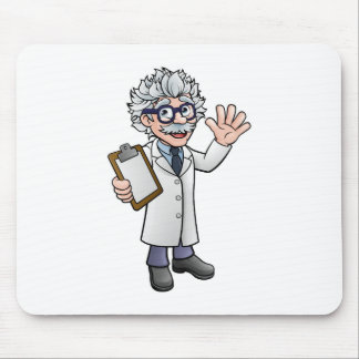 Cartoon Scientist Professor with Clipboard Mouse Pad