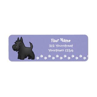 Cartoon Scottish Terrier Label