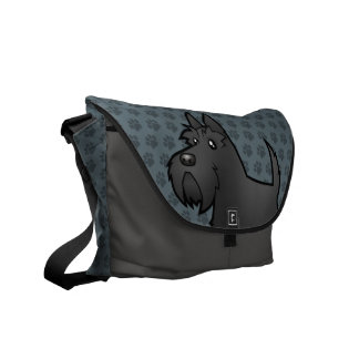 Cartoon Scottish Terrier Messenger Bag