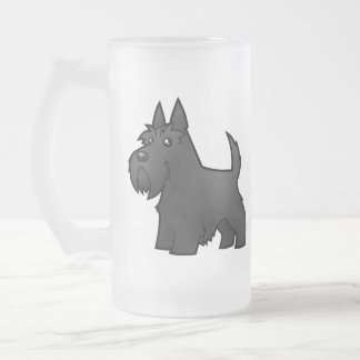Cartoon Scottish Terrier 16 Oz Frosted Glass Beer Mug