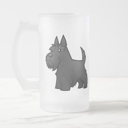 Cartoon Scottish Terrier 16 Oz Frosted Glass Beer Mug