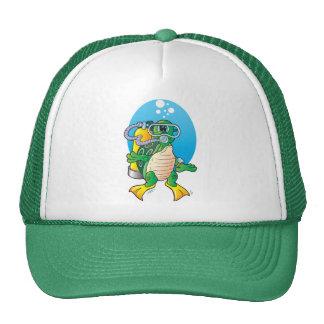 Cartoon Scuba Turtle Trucker Hat