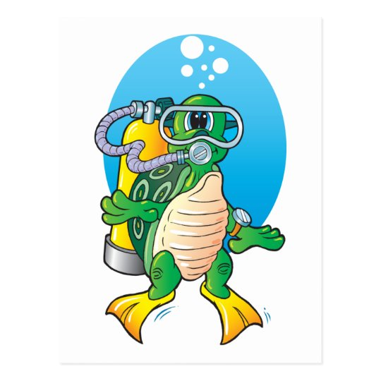 Cartoon Scuba Turtle Postcard