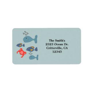 Cartoon Sea Life Label