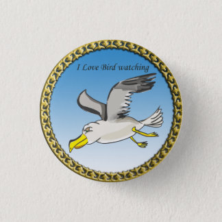 Cartoon seagull flying over head with a gold frame button