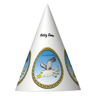 Cartoon seagull flying over head with a gold frame party hat