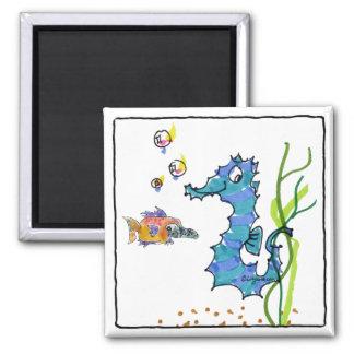 Cartoon Seahorse Cute 2 Inch Square Magnet