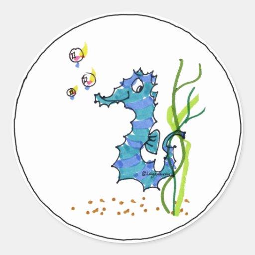 Cartoon Seahorse Cute Classic Round Sticker