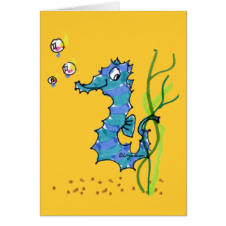 Cartoon Seahorse Cute Greeting Card
