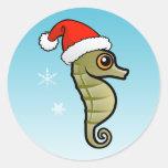 Cartoon Seahorse Santa Round Sticker