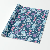 Cartoon Seahorses & Jellyfish | Blue Pink Purple Wrapping Paper