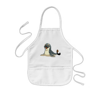 cartoon seal kids' apron