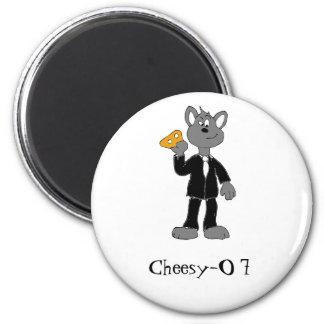 Cartoon Secret Agent Mouse 2 Inch Round Magnet