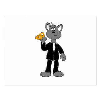 Cartoon Secret Agent Mouse Post Card