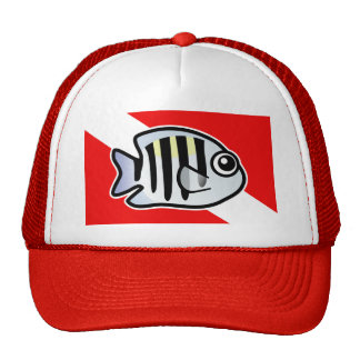 Cartoon Sergeant Major Dive Flag Trucker Hats