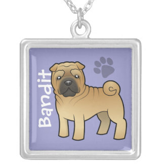Cartoon Shar Pei (add your pets name) Square Pendant Necklace