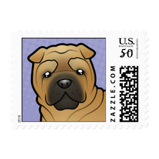 Cartoon Shar Pei Postage