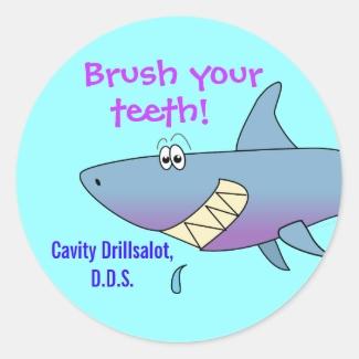 Cartoon Shark Brush Your Teeth Kid Dentist Sticker