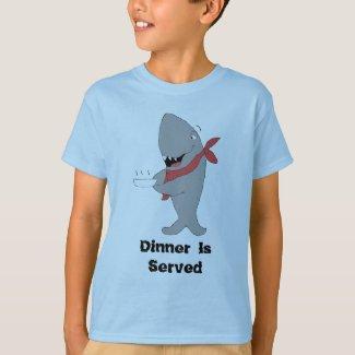 Cartoon Shark Holding Dinner Plate T-Shirt