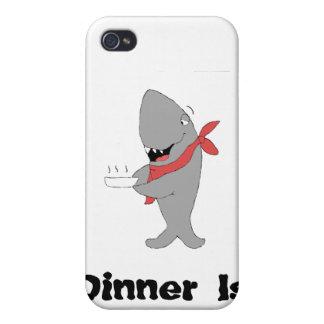 Cartoon Shark Holding Dinner Pllate iPhone 4 Cover