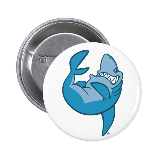 Cartoon Shark rolling back laughing Button