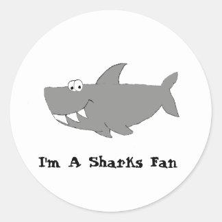 Cartoon Shark Swimming Round Stickers
