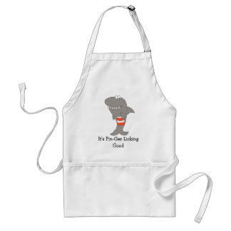 Cartoon Shark With A Bucket Of Fried Chicken Adult Apron