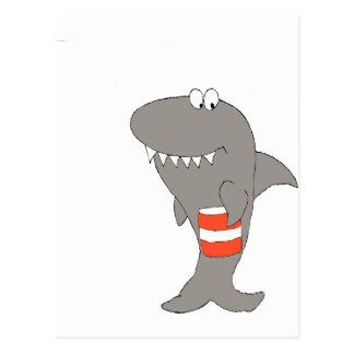 Cartoon Shark With A Bucket Of Fried Chicken Postcard