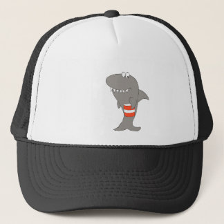 Cartoon Shark With A Bucket Of Fried Chicken Trucker Hat