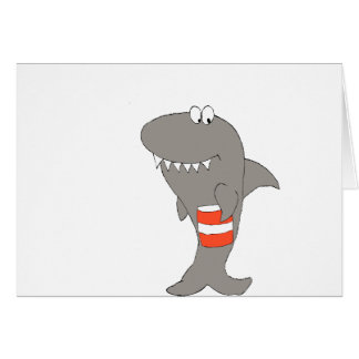 Cartoon Shark With Bucket Of Fried Chicken Card