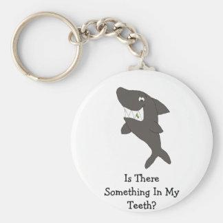 Cartoon Shark With Food In Teeth Keychain