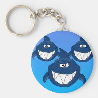 Cartoon sharks basic round button keychain