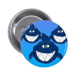 Cartoon sharks pinback button