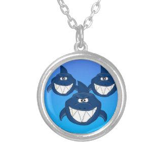 Cartoon sharks round pendant necklace