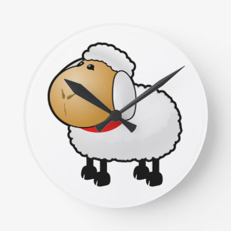 Cartoon Sheep Round Clock