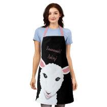 Cartoon Sheep Face Black Pink Animal Word Apron