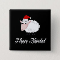 Cartoon Sheep Fleece Navidad Button