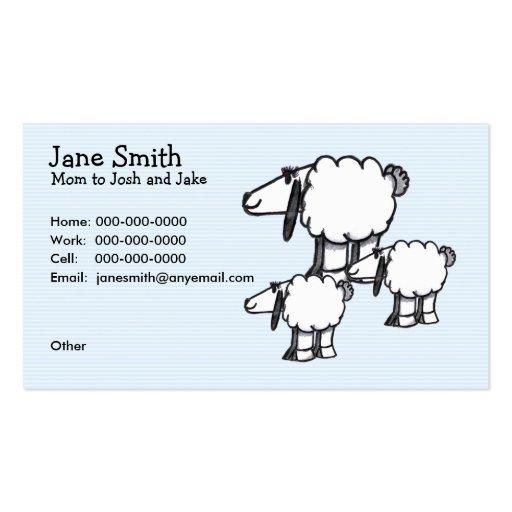 Cartoon Sheep Mom & Kids Contact Card Business Card