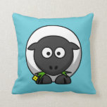 Cartoon Sheep on Aqua Pillow