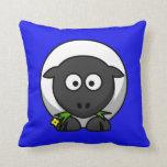 Cartoon Sheep on Blue Throw Pillows