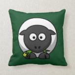 Cartoon Sheep on Green Pillow