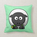 Cartoon Sheep on Mint Throw Pillows