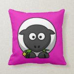 Cartoon Sheep on Pink Pillow