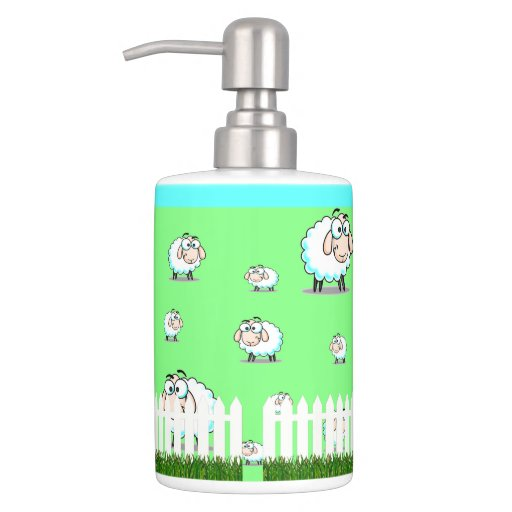 Cartoon Sheep Soap Dispenser And Toothbrush Holder Zazzle Toothbrush And Soap Coloring