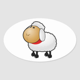 Cartoon Sheep Oval Stickers