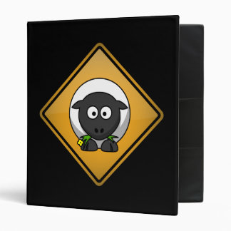 Cartoon Sheep Warning Sign 3 Ring Binder