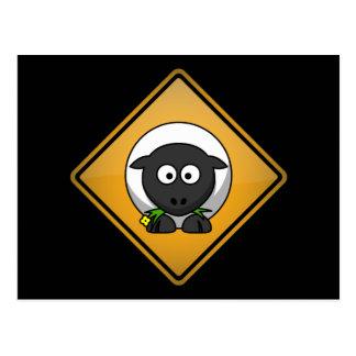 Cartoon Sheep Warning Sign Postcard