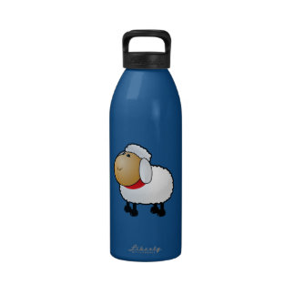 Cartoon Sheep Drinking Bottles