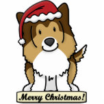 "Cartoon Sheltie Christmas Ornament<br><div class=""desc"">Adorable Sheltie Christmas Ornament featuring the Shetland Sheepdog wearing a red Santa hat. The sign underneath him reads,  &quot;Merry Christmas!&quot; Cute dog lover drawing will look adorable on your Xmas tree! Another coat variation of this design is available.</div>"