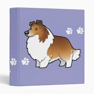 Cartoon Shetland Sheepdog / Collie 3 Ring Binder